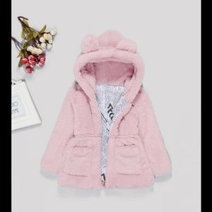 Other - Toddler Girl Solid Faux Fur Teddy Hooded